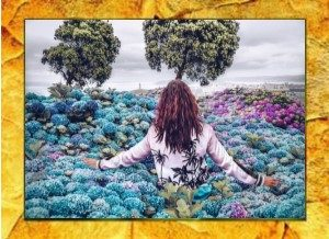 Girl in flowers with gold frame96