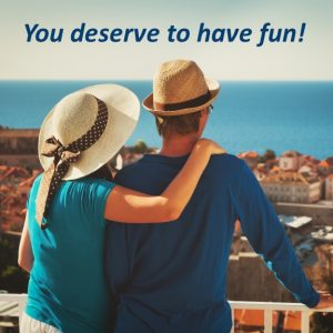Couple in love after getting a romance and love psychic reading with Psychic Cynthia Becker wearing hats and blue shirts